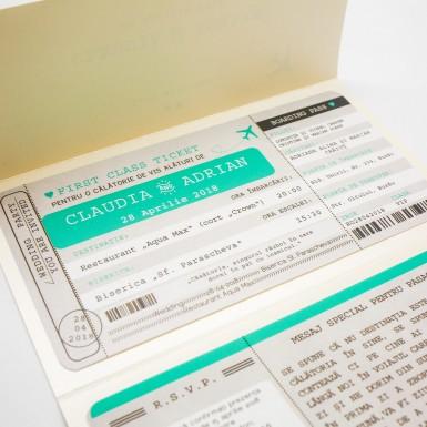 Invitatie nunta BIN158 - bilet de avion