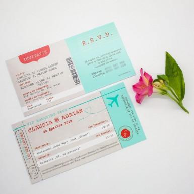 Invitatie nunta BIN176 - bilet de avion